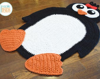 Handmade Crochet Penguin Rug with Red Bow - READY to SHIP