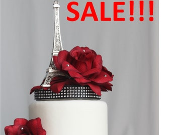 Red Rose and Paris Eiffel Tower Cake Topper, Wedding, Sweet 16, Quince, French Party, Centerpiece, overthetopcaketopper, SALE, Discount