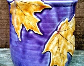 Maple Leaf Crock, Kitchen Utensil Holder, Purple Pottery Utensil Crock, Maple Leaf Spoon Jar, Stoneware Crock, Maple Leaf Vase Made to Order