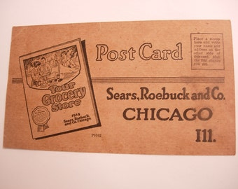 Vintage Antique Sears Roebuck and Co Advertising Postcard Dated 1919