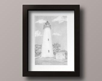 Ocracoke Lighthouse Print - Ocracoke Island - Ocracoke Island Art - Outer Banks Lighthouse - Lighthouse Print - Lighthouse Decor - Ocracoke