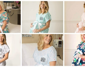 Monogrammed Labor Gowns..Personalized Delivery Gowns..Cute Hospital Gowns..Printed Nursing Gowns..Mom To Be..Baby Shower Gift..Pregnancy