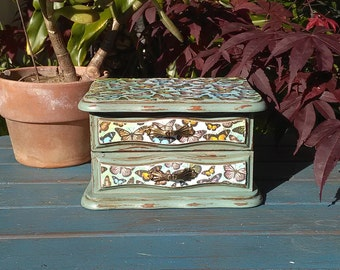 Small Vintage Shabby Chic Antiqued Green Jewelry Box Decoupaged with Butterfly Paper