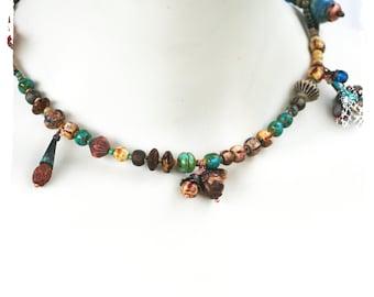 Boho multi-use bracelet necklace, Gypsy stacking bracelets, Rustic short charm necklace, Coachella jewelry, Gift for her