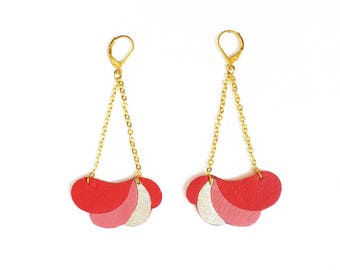 Leather earrings Komète Poppy / red leather, gilded brass