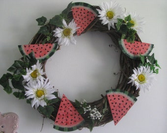 Watermelon wreath with daisies for door, watermelon wreath for a wall, daisies, watermelon wreath for summertime, Mother's day, gift for her