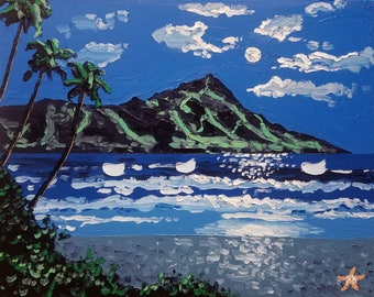Palette knife painting / tropical / moon art / coastal wall art / beach decor / abstract beach art / oil painting / canvas art / seascape