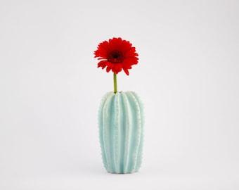 Original ceramic cactus shaped vase/ handmade vessel/ ceramic design/ mint/ home decor/ vessel for flowers