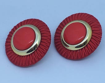 Vintage 1980s Huge Red Clip on Earrings