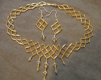 Beadwork Lattice Necklace and Earring Set