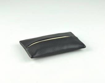 PU Leather Pocket Tissue Holder for Purse, Travel Tissue Holder, Tissue Cover, Portable Tissue Case, Tissue Pouch, Black
