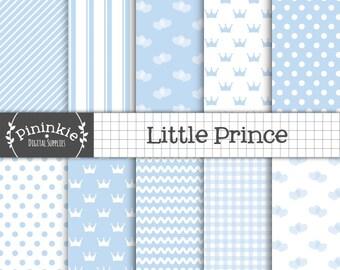Baby Boy Digital Paper,  Baby Blue Scrapbooking Paper,  Invitation Paper,  Pastel Blue, Light Blue, Blue Polka Dot, Blue Stripe Pattern