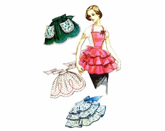 1950s Simplicity 1805 Bib and Half Tiered Aprons Vintage Sewing Pattern