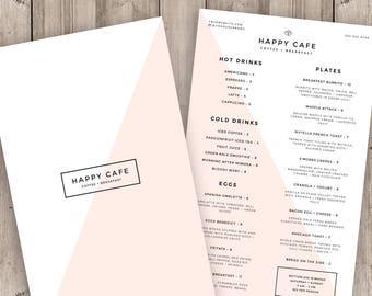 Restaurant Menu Template, Cafe Menu Design, Blush Pink Coffee Shop Logo, Printable Photoshop Template, Instant Download Food Menu Card