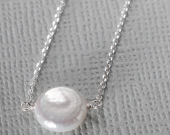 Pearl Little Rock Silver Necklace- or choose your stone