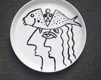 """Head in the fish"" stoneware plate"