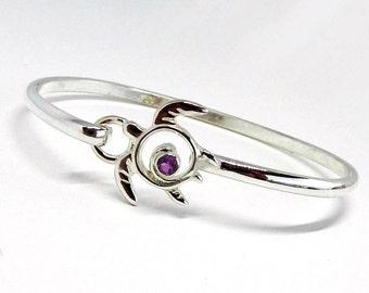 Turtle Bracelet Amethyst - Amethyst Bracelet - Silver Turtle Hook Bracelet - February Birthstone - Silver Turtle Bangle Bracelet - Honu