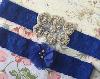Royal blue Wedding garter , lace wedding garter , bridal garter set , vintage lace garter , toss garter , something blue wedding