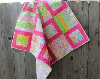 Baby Quilt Toddler Child Quilt Handmade Moda Giggle Pink and Green Fabric Crib Quilt, 39 x 39, baby crib throw, handmade quilt
