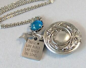 Those Who Reach,Stars Locket,Graduation Locket,Graduation Gift,Galaxy Necklace,Star Necklacace,Star Jewlery,Galazy Jewelry,valleygirldesign