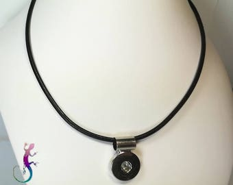 Black leather for snap button pendant necklace