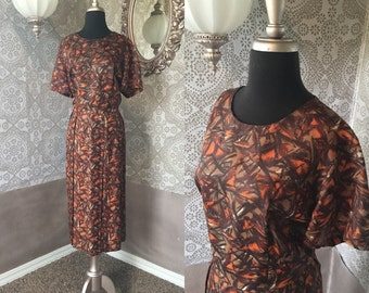 Vintage 1960's Autumnal Day Dress XXL