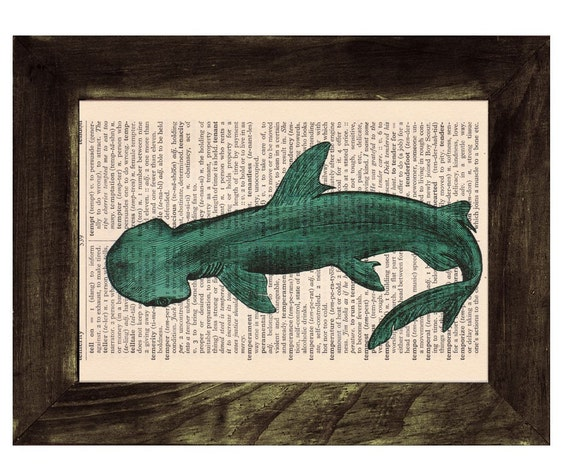 Vintage Book Print Dictionary or Encyclopedia Page Book print Shovelhead Shark Print on Vintage Dictionary Book BPSL086