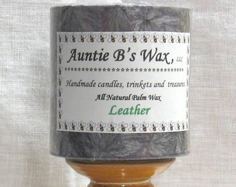 Leather - Palm Wax Pillar Candle