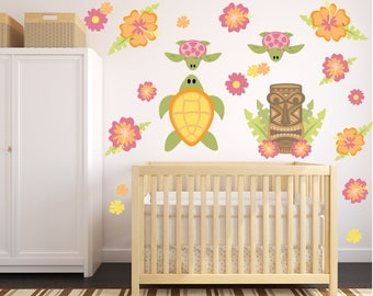 Hawaiian Wall Decals, Turtles Kids Fabric Wall Decal Stickers,  Non-toxic REUSABLE Fabric Wall Decals, SD38