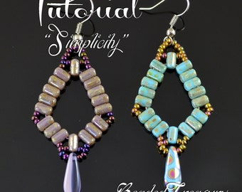 Simplicity - beadwoven earrings tutorial / Beading tutorial / Earring pattern / Bead pattern / Rulla, dagger pattern / TUTORIAL ONLY