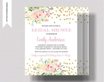 BRIDAL SHOWER INVITATION Blush Pink and and Gold Glitter | Beautiful  Watercolor Floral Bridal Shower Invitation | Shabby Chic Bridal Shower