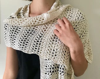 Handknitted Pure Silk Lacy Shoulder Wrap