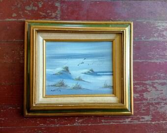 Vintage framed original painting of a beach, sand dunes, ocean, seagulls, oil painting, art