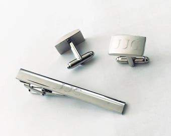 Set of 1Personalized,Engraved,Custom Monogrammed Cuff Links & Tie Clip for Man-Cs54-Valentine's day gift-Free engraving-Free shipping to USA