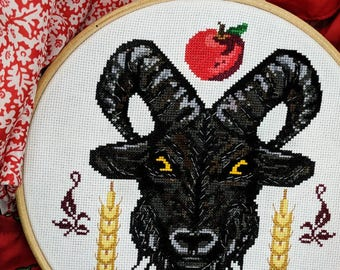 Black Goat Cross Stitch Pattern PDF - Halloween Horror Modern Cross Stitch Pattern Sampler - Instant Download
