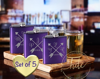 FIVE bridal party flasks,monogrammed girls flask ,  bridesmaid gifts , wedding party gifts, ladies flasks,
