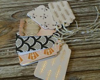6 pink gold gift tags and white