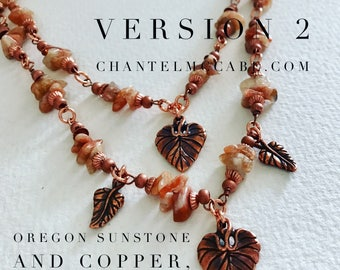 Wear me three ways! Version 2. Adjustable length sunstone and copper necklace, Perth Western Australia