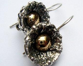 Sterling Silver Earrings With 14k Gold,  Handmade Earrings, Sterling Silver Dangle Earrings, Israeli Jewelry, Israeli Earrings