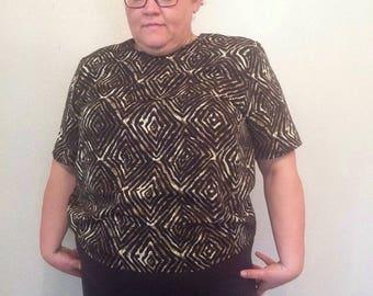 1990s vintage blouse short sleeve blouse 1990s graphic print shirt black and gold print blouse XL XXL blouse 1990s 90s vintage boxy top