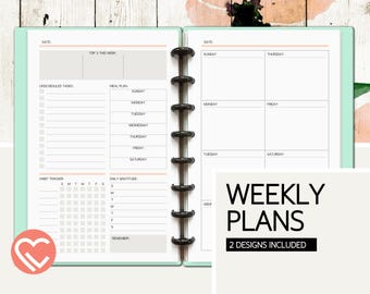 Weekly Plans | 2 Printable Pages | 3 Sizes | Digital Planner Pages | Instant Download Printable PDF | Weekly Tasks, Notes, and Tracker