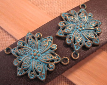 Green and Bronze Finished Pewter Flower Connectors-2 ct