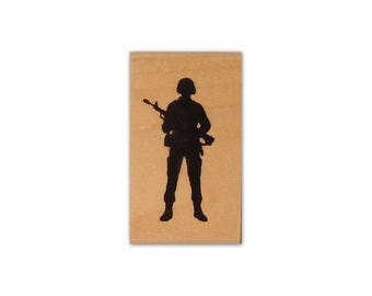 Soldier Silhouette mounted rubber stamp, military, army, troops, Veteran's Day, Crazy Mountain Stamps No.14