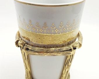 Vintage Matson Stylebuilt Porcelain Vanity Cup with Gilded Bamboo Holder