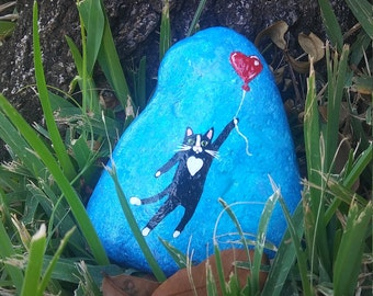 Hand painted large stands upright rock cat and balloon home decor gift idea
