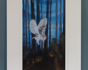Barn Owl in the Woods,Limited Edition Giclee Print 'Silent Swoop'