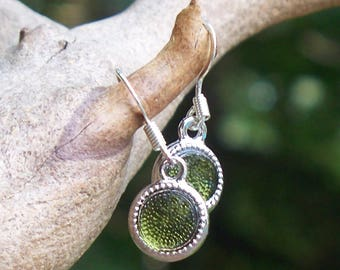 Recycled Reclaimed Early 1900s Olive Green Wine Bottle Glass Color Dot Earrings
