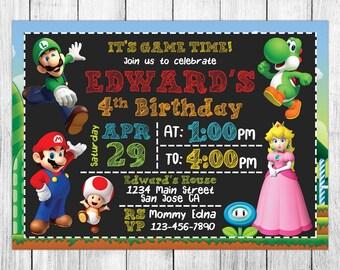 Super Mario Invitation, Super Mario Birthday Invitation, Super Mario Birthday Party, Super Mario Thank You Card, Personalized, Digital File