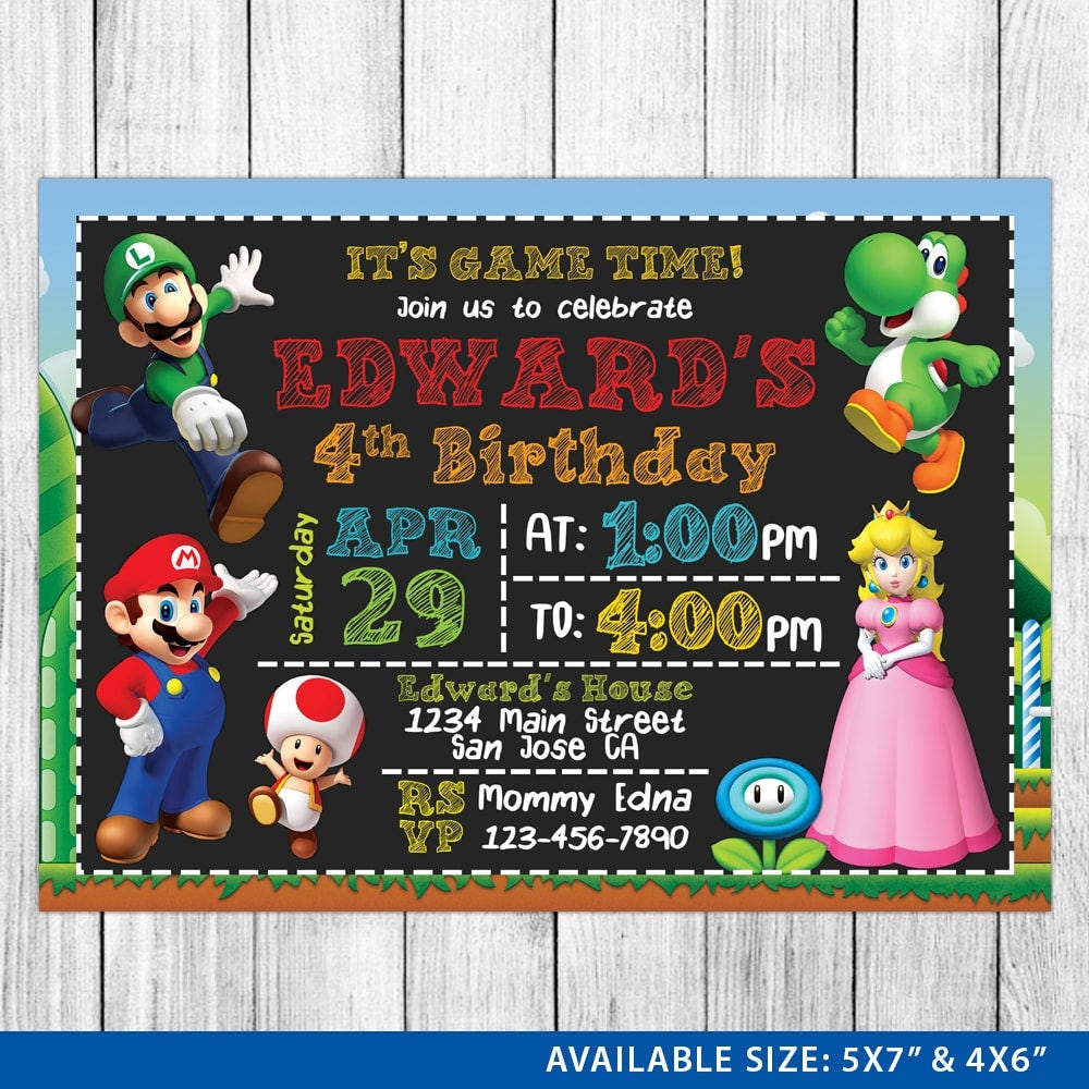 Super Mario Invitation Super Mario Birthday Invitation Super