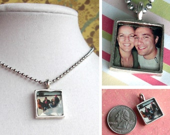 Square Photo Pendant .. glass like surface .. customize with your mini photo, option to add a chain and crystal -For mom on Mother's Day